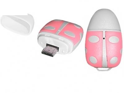 micro USB - OTG Card Reader miro SD - Pink Ladybug
