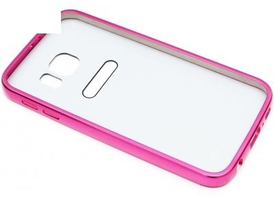 ГЛАНЦИРАН PVC ПРОТЕКТОР ЗА SAMSUNG GALAXY S6 2015 SM-G920 - Silver / Pink