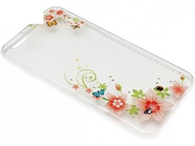 УЛТРА ТЪНЪК ПРОЗРАЧЕН СИЛИКОНОВ ГРЪБ ЗА iPhone 6 Plus 5.5-inch - Flowers