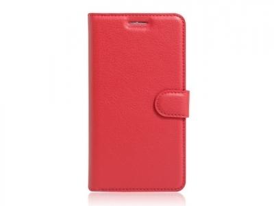 Кожен калъф тефтер за  Lenovo K5 Note - Червен
