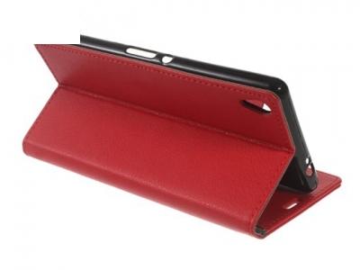 Кожен калъф тефтер за Sony Xperia XA Ultra - Червен