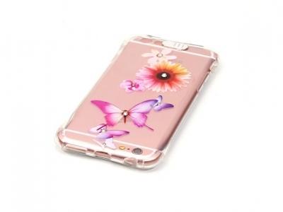 Ултра тънък силиконов протектор за iPhone 6s Plus/ 6 Plus Прозрачен - Текстура - Цветя и пеперуди