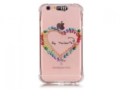 Ултра тънък силиконов протектор за  iPhone 6s Plus/ 6 Plus Прозрачен - Текстура - Сърце