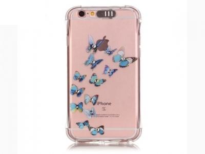 Ултра тънък силиконов протектор за iPhone 6s Plus/ 6 Plus Прозрачен - Текстура -Сини пеперуди