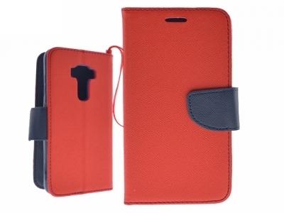 Калъф Тефтер за  ASUS Zenfone 3 (ZE552KL) - червен - тъмно синьо