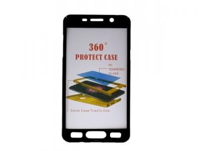 Калъф преден и заден PVC + Стъклен протектор за Samsung Galaxy A5 2016 A510, Черен