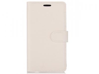 Калъф тефтерLichee Pattern Wallet Style HTC U Play / Alpine - White