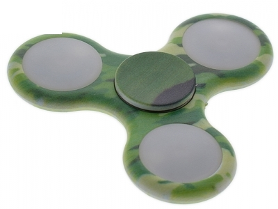 Camouflage Pattern LED Light Tri-Spinner Fidget Hand Toy Stress and Anxiety Relief Toy - Green