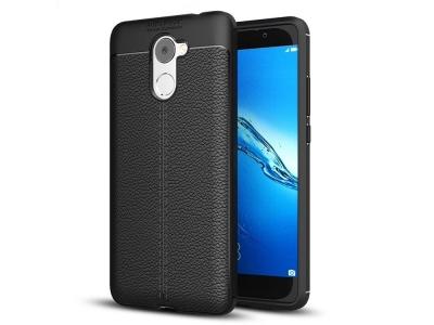 Силиконов гръб Litchi -  Huawei Y7 Prime / Enjoy 7 Plus - Black