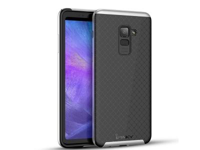 Силиконов гръб с пластмасова лайстна IPAKY за Samsung Galaxy A5 2018 / A8 2018 A530, Черен/ Сребрист
