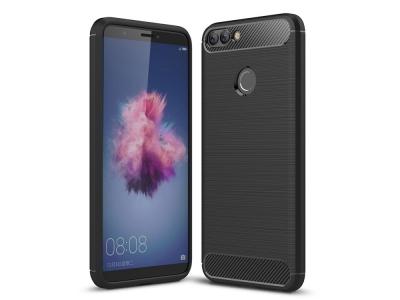Силиконов гръб Carbon за Huawei P Smart / Enjoy 7S, Черен