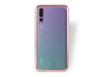 Силиконов гръб с лайсна за Huawei P20 Pro , Розов/ Златист