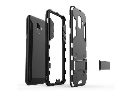Удароустойчив Калъф с Поставка за Samsung Galaxy A6 2018, Черен