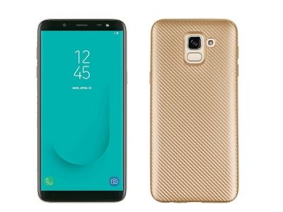 Силиконов гръб Carbon за Samsung Galaxy J6 2018, Златист