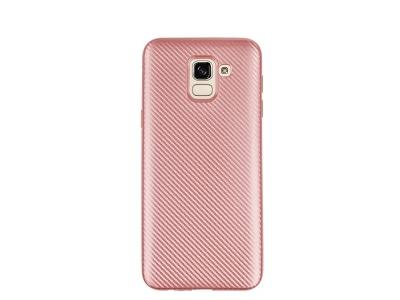 Силиконов гръб Carbon за Samsung Galaxy J6 2018, Розов/ Златист