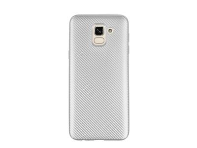 Силиконов гръб Carbon за Samsung Galaxy J6 2018, Сребрист