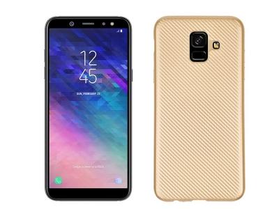 Силиконов гръб Carbon Fibre за Samsung Galaxy A6 2018, Златист