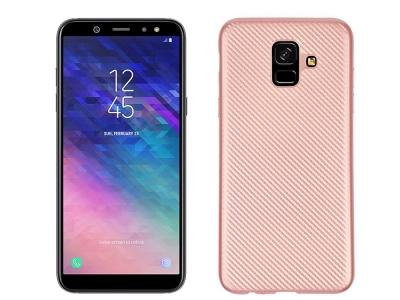 Силиконов гръб Carbon Fibre за Samsung Galaxy A6 2018, Розов/ Златист