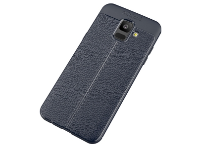 Силиконов гръб Litchi за Samsung Galaxy A6 2018, Тъмно син