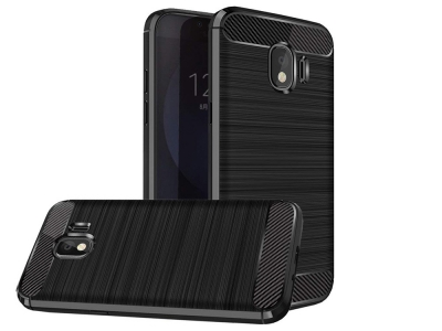 Силиконов гръб Carbon Fibre за Samsung Galaxy J4 2018 J400, Черен