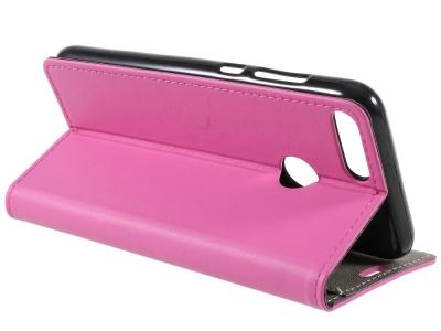 Калъф тефтер Leather за Huawei Honor 9 Lite, Розов