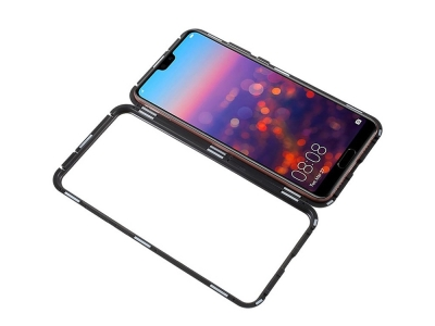 360 Алуминиев магнитен бъмпер за Huawei P20 Pro, Черен