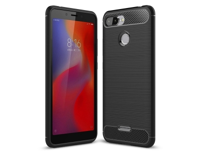 Силиконов гръб Carbon за Xiaomi Redmi 6, Черен