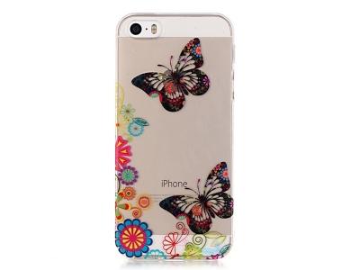 Силиконов Гръб за iPhone SE/5s/5, Пеперуди и цветя