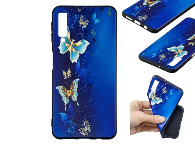 Силиконов Гръб за Samsung Galaxy A7 (2018) A750, Синя пеперуда