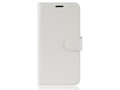 Калъф тефтер Litchi за Samsung Galaxy J6 Plus , Бял
