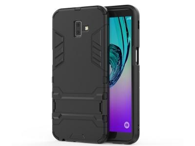 Удароустойчив гръб с Поставка за Samsung Galaxy J6 Plus, Черен