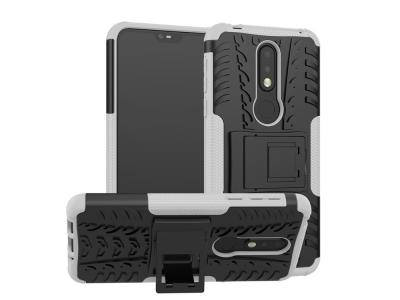 Удароустойчив гръб с поставка Hybrid за Nokia 7.1, Бял