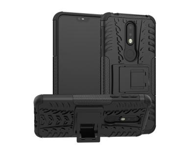 Удароустойчив гръб с поставка Hybrid за Nokia 7.1, Черен