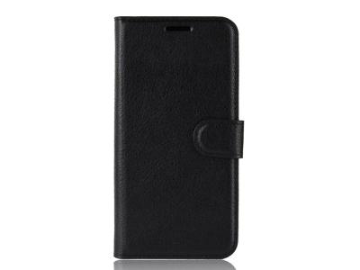 Калъф Тефтер Litchi за Xiaomi Redmi Note 6 Pro, Черен