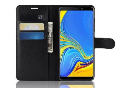 Калъф тефтер Litchi за Samsung Galaxy A9 2018 / A9 Star Pro / A9s , Черен