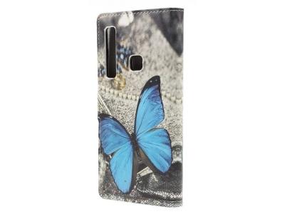 Калъф Тефтер за Samsung Galaxy A9 2018, Синя пеперуда