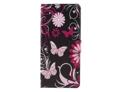 Калъф Тефтер за Samsung Galaxy A9 2018, Пеперуди и Цветя