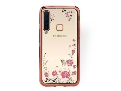 Силиконов Гръб FLOWER за Samsung Galaxy A9 (2018) / A9s ,Розов / Златист