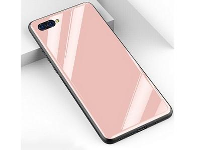 Стъклен гръб със силиконова лайстна Glass за Huawei Y6 2018, Розов