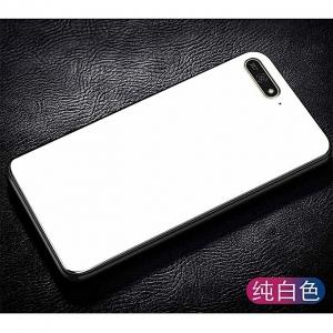 Стъклен гръб със силиконова лайстна Glass за Huawei Y6 2018, Бял