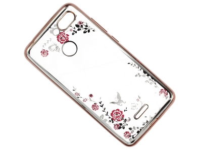 Силиконов Гръб FLOWER за Xiaomi Redmi 6, Розов/ Златист