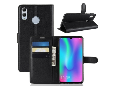 Калъф тефтер Litchi Leather за Huawei P Smart (2019) / Honor 10 Lite , Черен