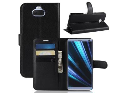 Калъф тефтер Litchi Leather за Sony Xperia 10 Plus, Черен