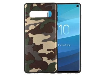 Силиконов Гръб за Samsung Galaxy S10, Зелен камуфлаж