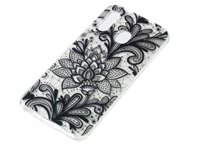 Силиконов Гръб за Samsung Galaxy A40, Черни Цветя