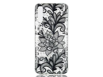 Силиконов Гръб за Samsung Galaxy A70,Черни цветя