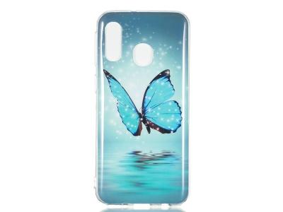Силиконов Фосфоресциращ гръб за Samsung Galaxy A40, Синя пеперуда