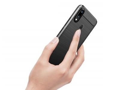 Силиконов гръб Carbon Fibre за Huawei Y7 2019, Черен