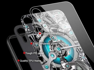 Стъклен гръб със силиконова лайстна NILLKIN Spacetime за iPhone XR, Син
