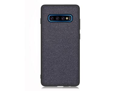 Удароустойчив Гръб Cloth Leather за Samsung Galaxy S10 Plus, Тъмно син